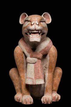 Clay jaguar from Monte Albán II (100 BC - 200 AD) - Museo Nacional de Antropología