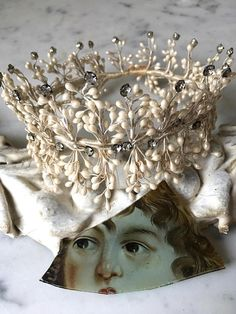 antique French wax bridal crown with rhinestones circa 1900