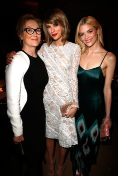 Meryl Streep, Taylor Swift, and Jaime King at The Weinstein Company Oscars party
