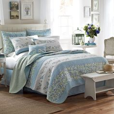 Laura Ashley Birds and Branches Quilt from Beddingstyle.com.   #beddingstyle