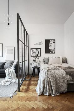 77 Stunning First Apartment Studio Decor Ideas - Studio-Apartment Dekorieren - Apartment Apartment Bedroom Decor, Apartment Interior, Apartment Living, Living Rooms, Bedroom Goals, One Bedroom, Bedroom Ideas, Studio Apartment Layout, Studio Apartment Decorating