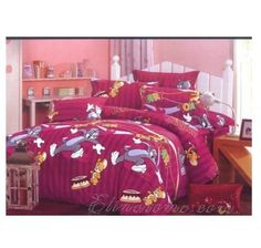 Stripe Brushed Purple Tom And Jerry Bedding