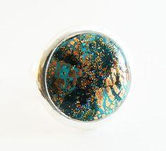 Bague réglable en métal argenté bleu/vert et cuivre : Bague par commeilvousplaira
