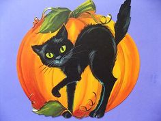 Meeting Of Ye Halloween Spirits Elves Black CatPostcard Carte Postale Postkarte