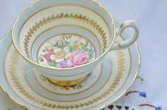 Grosnenor bone china England tea cup and saucer/ baby blue/ gold gilding/ floral pattern by VieuxCharmes on Etsy