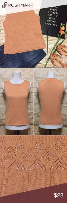 """Anthropologie Beaded Knit Tank Adorable fitted knit top by Odille for Anthropologie. Peach colored with decorative beading on front. High round neckline. Sleeveless pullover style. Hits right at hips. Extremely stretchy material. Gently loved but still in excellent condition.   Measurements lying flat: Bust: Stretches from 16-19"""" across  Length: 21.5"""" Anthropologie Tops"""