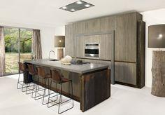Brown Kitchen Clean Lines Dutch Decor, Inspiration, Furniture, Kitchen, Home, Kitchen Island, Brown Kitchens, Clean Kitchen, Home Decor