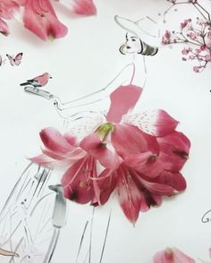 Inspiration grace ciao, flower fashion и flower art. Flower Petals, Flower Art, Flower Girls, Grace Ciao, Floral Fashion, Fashion Art, Fashion Prints, Unique Drawings, Collages
