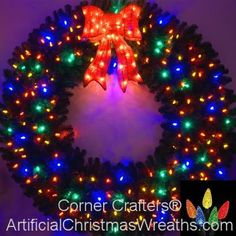 4 Foot Multi-Color L. Christmas Wreath with Pre-lit Red Bow - 48 inch - 200 LED Lights - Indoor - Outdoor Pre Lit Christmas Wreaths, 1st Christmas, All Things Christmas, Seasonal Decor, Holiday Decor, Christmas Wallpaper, Ornament Wreath, Bows, Led