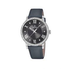 Γυναικείο ρολόι FESTINA F20412/4 απλό με μαύρο καντράν, ατσάλινους δείκτες και ατσάλινο γκρι δερμάτινο λουρί | Ρολόγια Festina ΤΣΑΛΔΑΡΗΣ στο Χαλάνδρι #Festina #μαυρο #λουρι #ρολοι Watches, Leather, Accessories, Clocks, Clock, Ornament