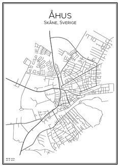 Åhus. Skåne. Sverige. Karta. City print. Print. Affisch. Tavla. Tryck.