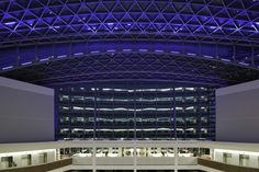 Internal night photo of The Co-operative Headquarters in Manchester built by BAM. The building achieved a BREEAM Outstanding rating with the highest score ever attained.