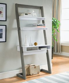 This Gray & White Lexy Two-Tone Leaning Desk is perfect! #zulilyfinds