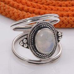 925 SOLID STERLING SILVER RAINBOW MOONSTONE RING 5.50g DJR4453 #Handmade #Ring