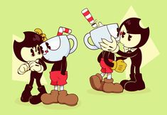 Deal With The Devil, Cartoon Crossovers, Bendy And The Ink Machine, Bowser, Video Game, Chibi, Minnie Mouse, Disney Characters, Fictional Characters