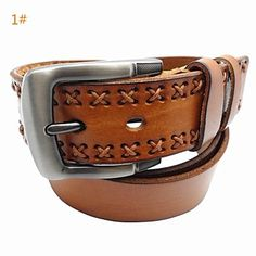 Men's Fashion Cowboy Style Hand Made Tailer Cow Leather Belt Buckle Vintage Riem 2015 – €21.65
