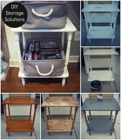 STEP BY STEP TUTORIAL for Easy DIY Side Table Storage Solution with TJ Maxx Baskets. Cute storage solution for DVD collection! can be a Shabby Chic side night stand also!
