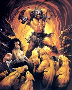 Sword and Sorcery Tales — Sabor Tooth by Ken Kelly. Dark Fantasy Art, Fantasy Artwork, Fantasy World, Comic Books Art, Comic Art, Savage Worlds, Conan The Barbarian, Sword And Sorcery, Fantasy Warrior