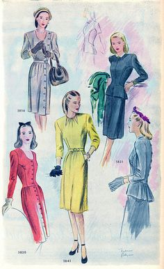 Elegant, understatedly beautiful monochromatic suits and dresses from 1944.