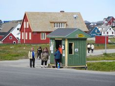 Passengers await a city bus at a stop in Nuuk, Greenland. Nuuk Greenland, Greenland Travel, Shed, Outdoor Structures, Tours, Country, City, Photography, Countries