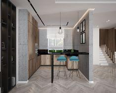 Современный дизайн кухни-гостиной частного дома в Вышгороде