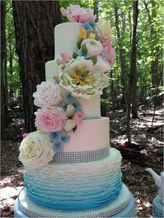 beautiful floral pastel wedding cake ideas