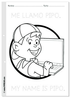 Colorea: Me llamo Pipo | Coloring: My name is #Pipo #kids #coloring #colorear #ordenador #computer #elearning