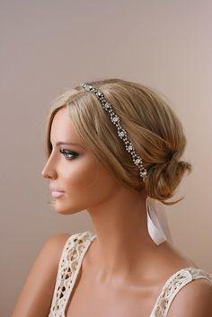 Rhinestone Headband, Grecian Headpiece, Wedding Hair Accessory, Crystal Headband, - EDNA. $69.00, via Etsy.