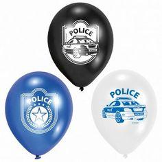 Een zakje met 6 ballonnen bedrukt met onder andere een politieauto. Doorsnede: ongeveer 22 cm. kinderfeestje politie