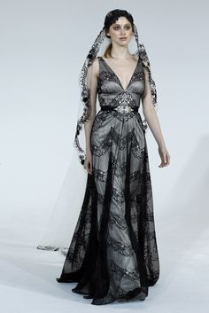 Would you wear this black lace wedding dress by Claire Pettibone Romantique, Spring 2016 Claire Pettibone, Bridal Gowns, Wedding Gowns, Wedding Blog, Fall Wedding, Wedding Stuff, Black White Wedding Dress, New Look Fashion, Bridal Fashion Week