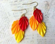 Autumn Harvest Colors Origami Leaf Earrings