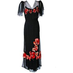 Preowned 1930's Red-poppies Floral Applique Silk Tulle Illusion... ($1,200) ❤ liked on Polyvore featuring dresses, gowns, vintage, 1930, black, red silk dress, long red evening dress, red evening dresses, red evening gowns and red gown