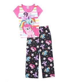 Look at this Pink & Black My Little Pony Pajama Set - Girls on #zulily today!