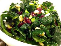 raw kale and cranberry salad