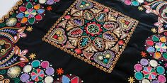 Europe - Slovakia/Detva, crooked needle embroidery on velvet Tambour Embroidery, Folk Embroidery, Pattern Art, Art Patterns, Needlework, Weaving, Textiles, Velvet, Quilts