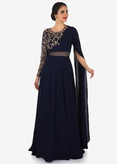 Navy blue gown in fancy sleeve and sheer net with embroidered bodice only on Kalki Designer Party Wear Dresses, Kurti Designs Party Wear, Indian Designer Outfits, Designer Gowns, Designer Wear, Party Wear Evening Gowns, Evening Gowns With Sleeves, Wedding Gowns With Sleeves, Stylish Dresses For Girls