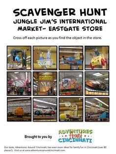 Adventures Around Cincinnati -- printable Jungle Jim's Eastgate scavenger hunt