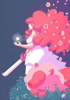 "khazm: ""I've been wanting to draw Rose Quartz since I started watching Steven Universe some time ago, but didn't find a moment up til now. I still like Garnet best of all the gems but the pinkness of Rose spoke to me. She also loves plant life which. Steven Universe Wallpaper, Cartoon Network, Rock Tumblr, Pantone, Rose Quartz Steven Universe, Trends 2016, Plant Drawing, Art Deco, Universe Art"