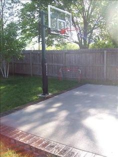 small backyard basketball court | Finish off our basketball court with brick