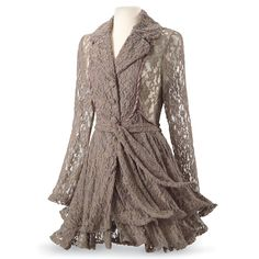 Pyramid Collection Taupe Lace Jacket - Beautifully Romantic!