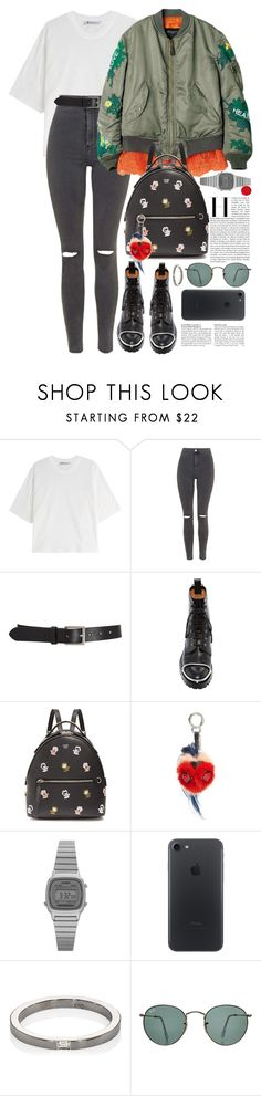 """Без названия #4025"" by catelinota-a ❤ liked on Polyvore featuring T By Alexander Wang, Topshop, Barneys New York, Alexander Wang, Fendi, Casio, Ileana Makri and Ray-Ban"