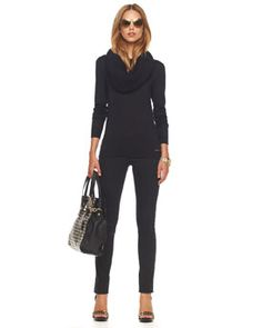 Love the cowl neck - would love this outfit even more with knee high black boots - flat or with a heel.