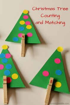 Christmas Crafts eyfs Christmas Tree Counting and Matching. Practice counting, number identification, correspondence and develop fine motor skills. Preschool Christmas, Noel Christmas, Christmas Crafts For Kids, Christmas Activities, Preschool Crafts, Christmas Themes, Preschool Activities, Holiday Crafts, Winter Activities