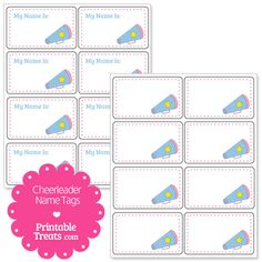 free printable cheerleading name tags each name tag features a pink grunge border with. Black Bedroom Furniture Sets. Home Design Ideas