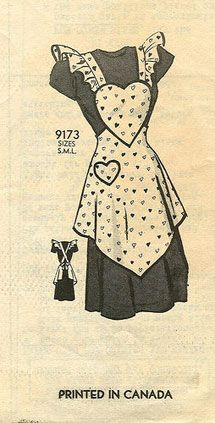 Vintage apron pattern printed in Canada    http://www.collectorsweekly.com/articles/an-interview-on-vintage-fashion-sewing-and-aprons-with-author-amy-karol/