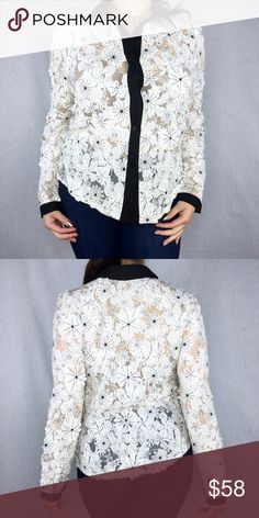 ✨New In✨ Floral Embroidered Blouse New with Tags Retail (Boutique). A beautiful white mesh blouse. Featuring, a lovely and fun, floral cutout embroidery. This fabulous top takes a classic style with an artistic twist.   Self: 50% Cotton, 50% Polyester   📌***Multiple Sizes Available***Tap Your Size Below👇***📌 INA Tops Blouses