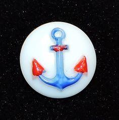 "1700~Vtg Hand Painted Red Blue Nautical Anchor Milk Glass Button 3/4"" Diameter**"