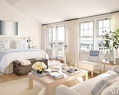 Nantucket style beach chic bedroom neutral tones