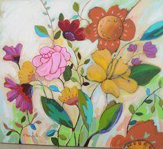 Gosto demais de pintar flores.  Flores - acrílico sobre tela - 80 x 90 cm