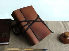 Leather Journal or Notebook Brown Antiqued Leather by TeoStudio